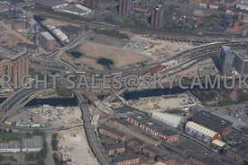 Construction of new railway bridge crossing the river Irwell  carrying the new Ordsall Chord railway link to Salford Central ...