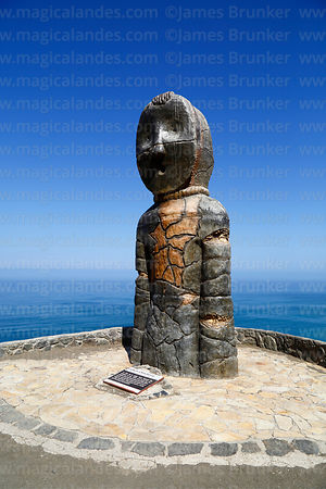 Modern statue of Chinchorro mummy above Bahia Camarones, Region XV, Chile