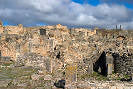 Looking over the terraced houses of Dougga; Tunisia; Landscape