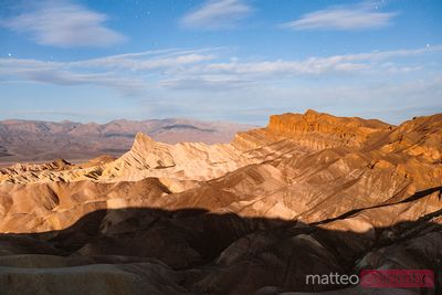 Zabriskie point by the moonlight, Death valley, USA