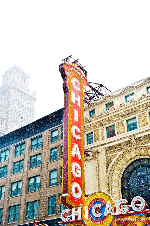 CHICAGO THEATRE SIGN WINTER DAY HEAVY SNOWFALL CHICAGO ILLINOIS COLOR VERTICAL