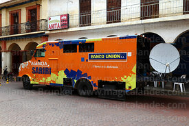 Banco Union's mobile banking service truck in Plaza Aroma, Tarata, Cochabamba Department, Bolivia