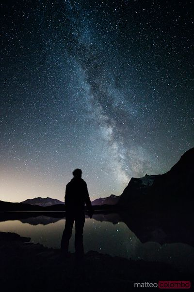 Man looking at the milky way in the italian alps