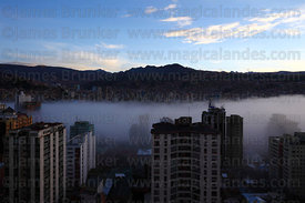 Early morning mist in valley in city centre , La Paz , Bolivia