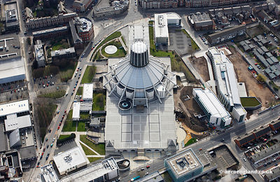 aerial photograph of Liverpool Metropolitan Cathedral