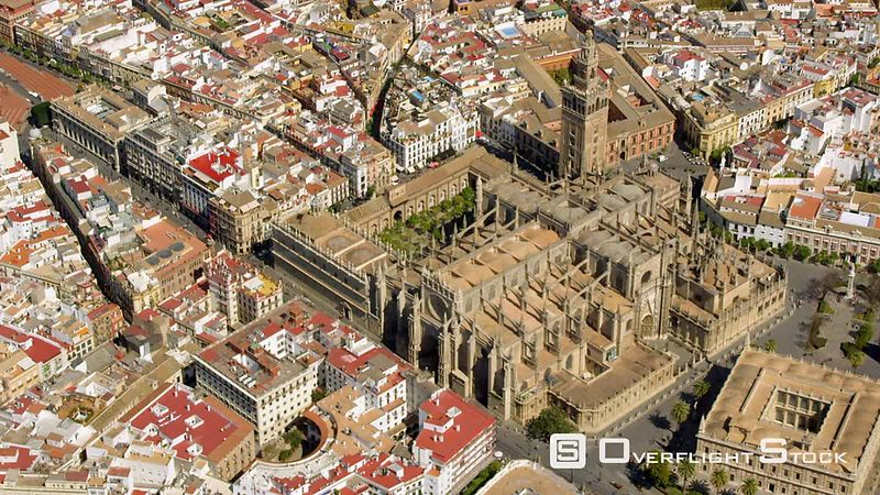 Circling Aerial View of Seville Cathedral With La Giralda Belfry and the Archivos De Las Indias the General Archive of the In...