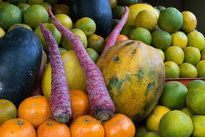 Fresh fruits and vegetables for sale at a market, Pushkar, Rajasthan, India