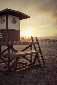 Newport Beach Lifeguard Tower B Sunrise Retro Photo