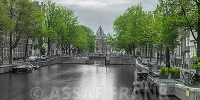 Canal through Amsterdam city
