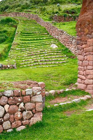 Part of Qhapaq Ñan Inca road arriving at site of Huchuy Qosqo, Cusco Region, Peru