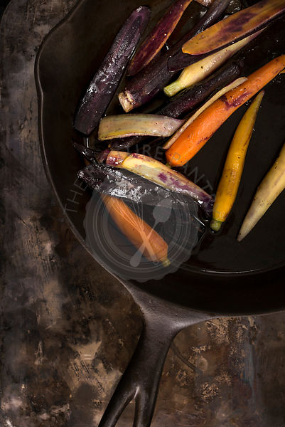 Rainbow carrots in skillet