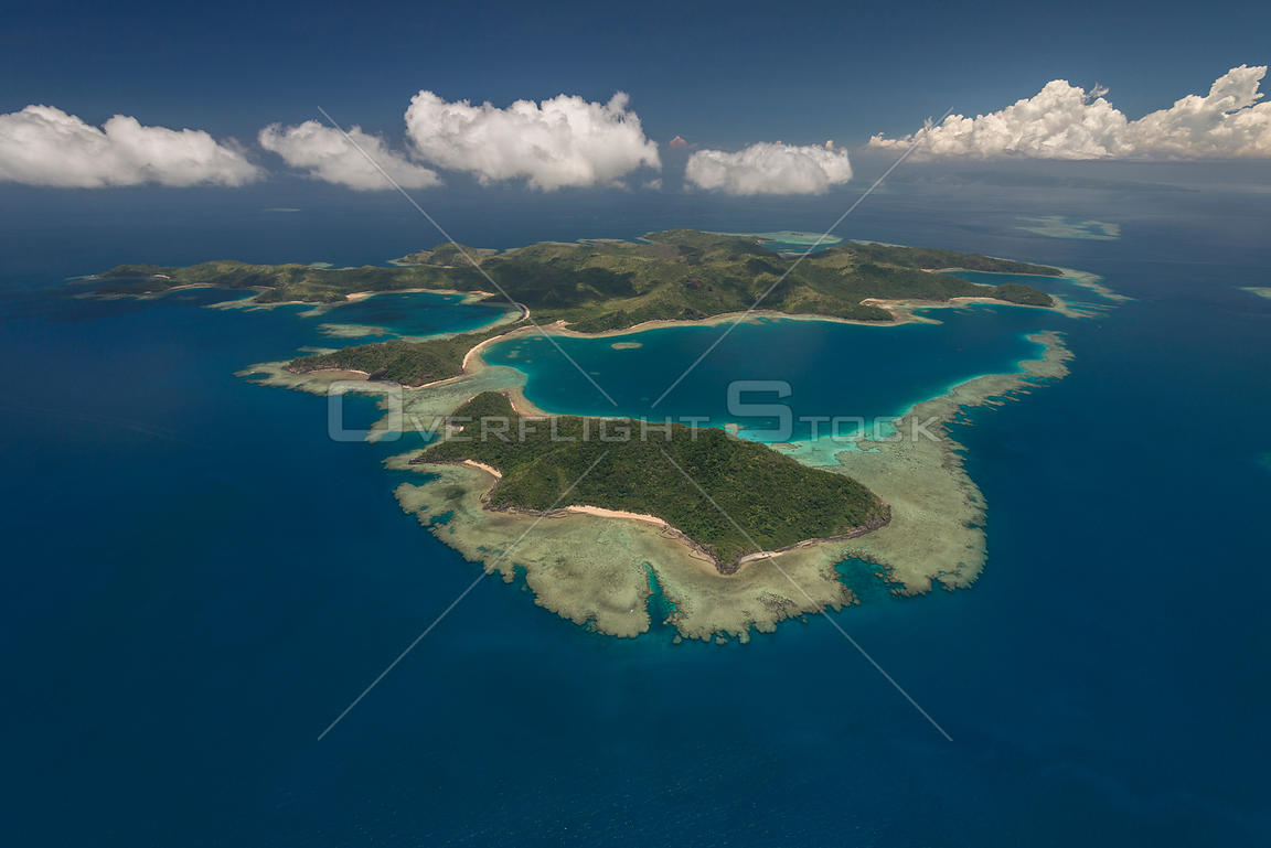 Aerial view of Yadua Island with Yadua Taba Island, a crested iguana sanctuary, Fiji. December 2013.
