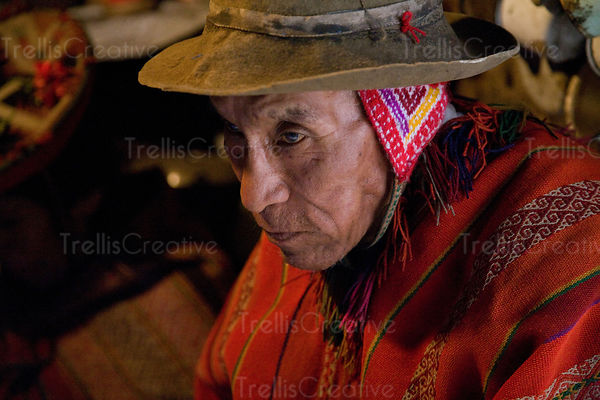 This old Andean couple in their one room clay house recently got electric service to power their one lightbulb. Lares Trek, A...