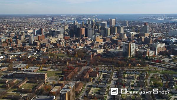 Aerial orbiting view of Baltimore, MD.