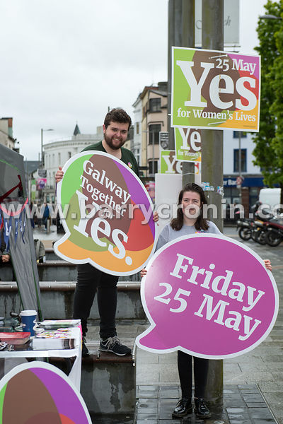 NO REPRO FEES - 15th May, 2018. Pictured at Eyre Square, Galway were volunteers and supporters Cathal Sherlock and Muireann O...