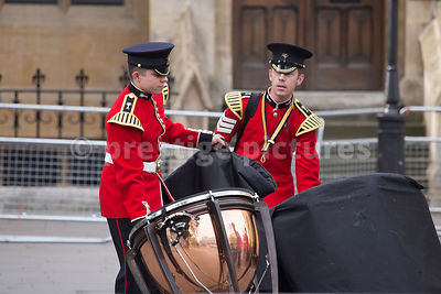 Band of the Welsh Guards unloading before the Westminster Abbey Service