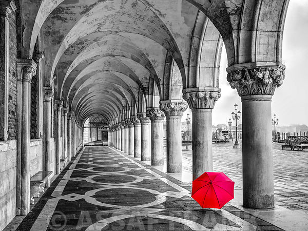 Umbrella in Doge's Palace archway, Venice, Italy