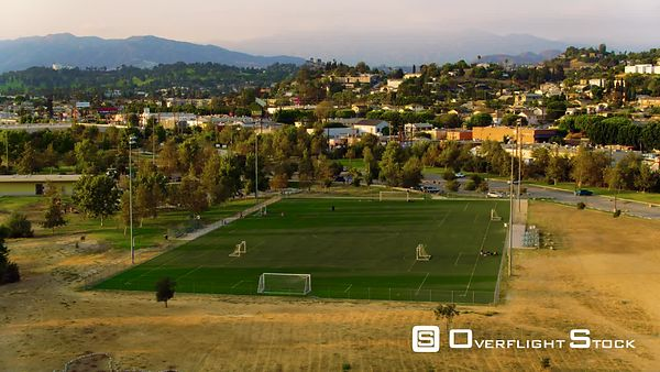 Soccer Field Moving Slow Sunset Los Angeles Suburbs Aerial Drone California