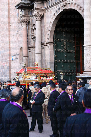 Santo Sepulcro / Crucified Christ leaves La Merced church at start of Good Friday procession , Cusco , Peru