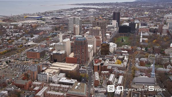 Aerial view of downtown New Haven and Church on the Green.