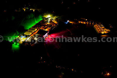 Aerial view over stage in Hyde Park, London