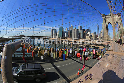 Love Padlocks (Love Locks) attached to Brooklyn Bridge (1883), New York City, USA