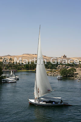 Tourist boats and a felucca (traditional sailing vessel) on the River Nile at Aswan, Egypt, with the Aga Khan Mausoleum on th...