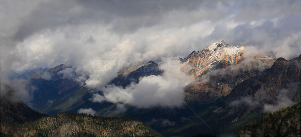 View to Mt.Logan Ridge in low clouds from the Maple-Loop Trail in Rainy Pass area of North Cascades National Park, Cascade Ra...