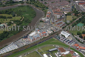 Chester aerial view of the old Chester port area Saddlery Way and New Crane Street