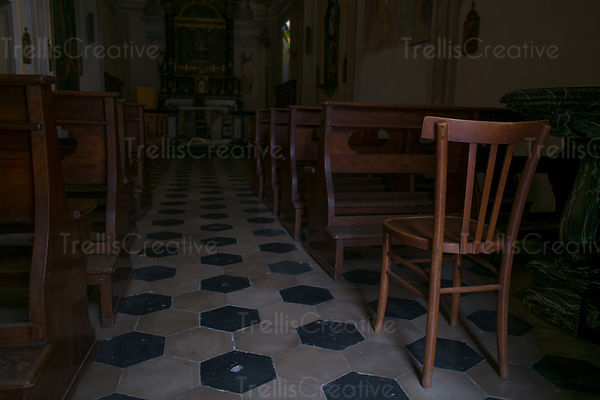 Empty church in Varenna, Italy
