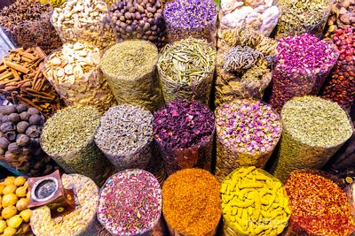 United Arab Emirates, Dubai. Spices for sale at the souk
