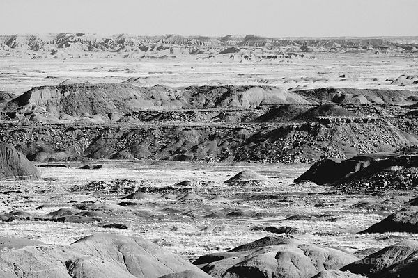 PAINTED DESERT BADLANDS PETRIFIED FOREST NATIONAL PARK ARIZONA BLACK AND WHITE