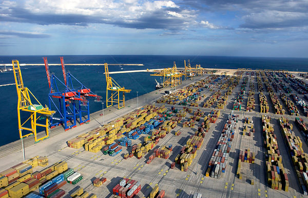 Commercial container terminal, Valencia, Spain. June 2005.