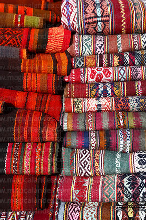 Detail of textiles for sale in Chinchero market, Sacred Valley, Peru
