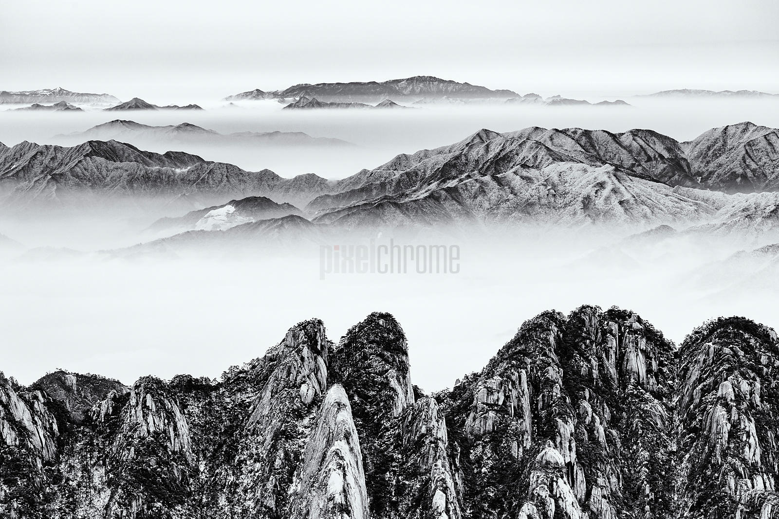 Huangshan Mountains Above a Sea of Mist
