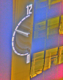 University of Derby Clock, HDR creative with ghosting still in place.