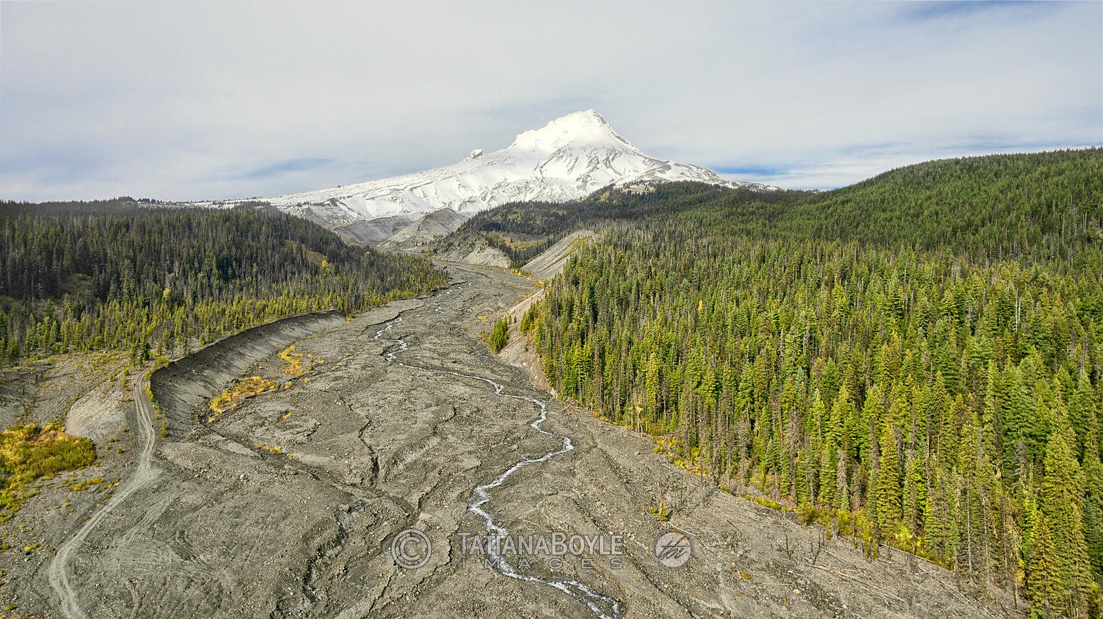 Aeirial view of Southern macroslope of Mt. Hood, Oregon, U.S.A.