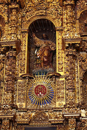 Detail of altar screen of La Compañia de Jesus church , Arequipa , Peru