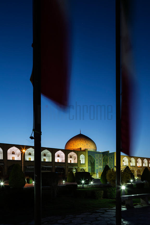 Shekh Lotfallah Mosque and Flagpoles at Dawn