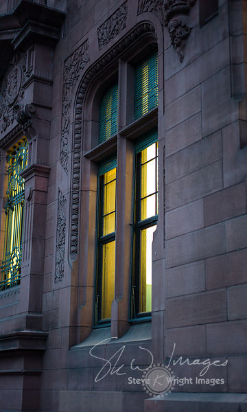 Window detail of the University Library at Night - Heidelberg, Germany
