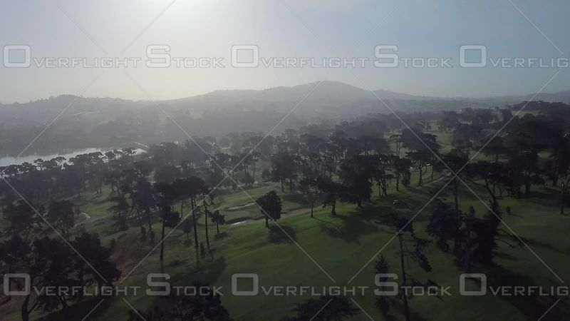 Golf Course Aerial Sunrise Day Summer Trees Silhouette
