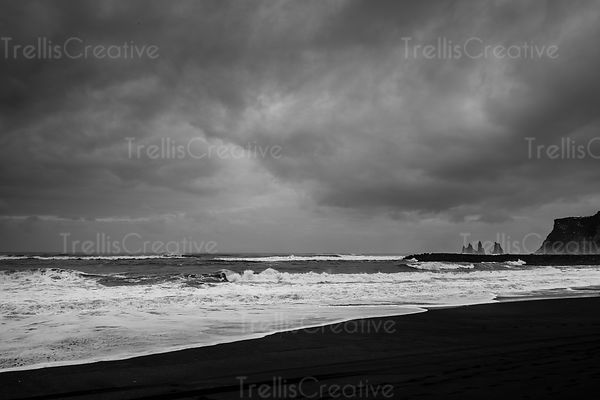 Rough surf along the Black Sand beach in Vik, Iceland