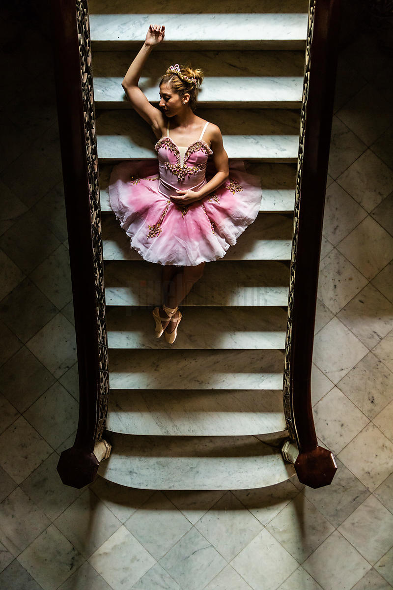 Ballerina Exercising in Vintage Mansion.