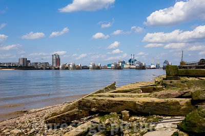 Derelict Timbers lying on the Foreshore with The Thames Barrier in the Background