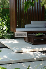Contemporary furniture, Contemporary garden, Exotic garden, Garden furniture, Pavement, Resting area, Terrace, Tropical garde...