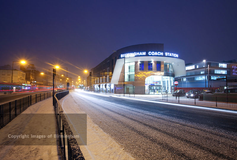 The new Coach Station in Digbeth, Birmingham city centre, during a snow storm.