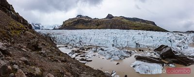Panoramic of Svinafellsjokull glacier in south Iceland