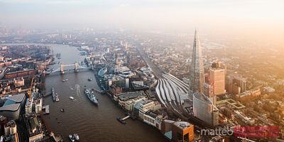 Aerial panoramic of the Shard and Tower bridge, London