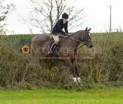 Fiona Applewhite jumping a hedge above Clawson Thorns