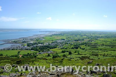 15th June, 2009. The village of Carlingford as seen from Slieve Foye (Elevation 589 metres) as part of The Tain Way, Carlingf...
